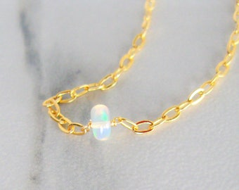 14k Solid Gold Fire Opal Dainty Necklace, 14k gift for her tiny gemstone choker October birthstone jewelry tiny opal necklace real opal gift