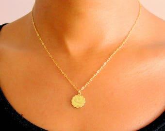 14k Gold Filled Zodiac Necklace, Horoscope Necklace, Coin Necklace, Medallion Necklace, Layering Necklace best friend gift, pendant necklace