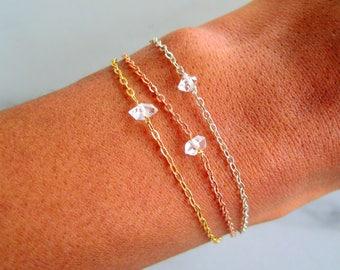 Raw Herkimer Diamond Bracelet, raw herkimer jewelry, crystal bracelet raw, delicate bracelet boho jewelry bohemian wedding stacking bracelet