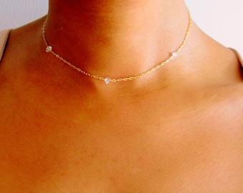 Herkimer Diamond Gemstone Choker Necklace, Gold boho choker, gold tiny gemstone choker, rose gold thin choker, crystal point choker