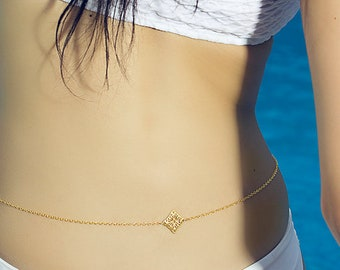 Diamond Belly Chain, beach jewelry, bikini chain, bikini jewelry, gold belly chain, adjustable body chain, belly chain, delicate belly chain