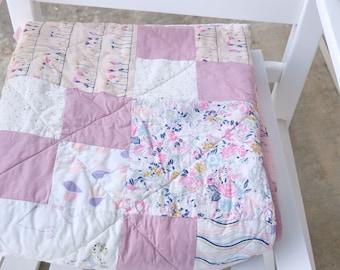 Small Throw Quilt, Couch Quilt, Cotton Anniversary Quilt, Pink quilt, Toddler Quilt, Heart Quilt, Modern girl Quilt