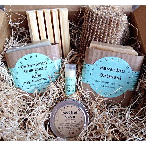 MEN'S SOAP SET -  Beer Soap Basket - Handmade Soap Gift Basket - holiday gift box - beer soap - gift for him