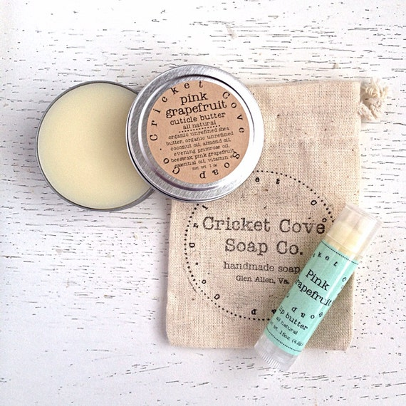 Lip Butter and Cuticle Butter Set - Salve Set - Healing Gift Set - Lip Balm - Cuticle Cream - gift idea - stocking stuffer