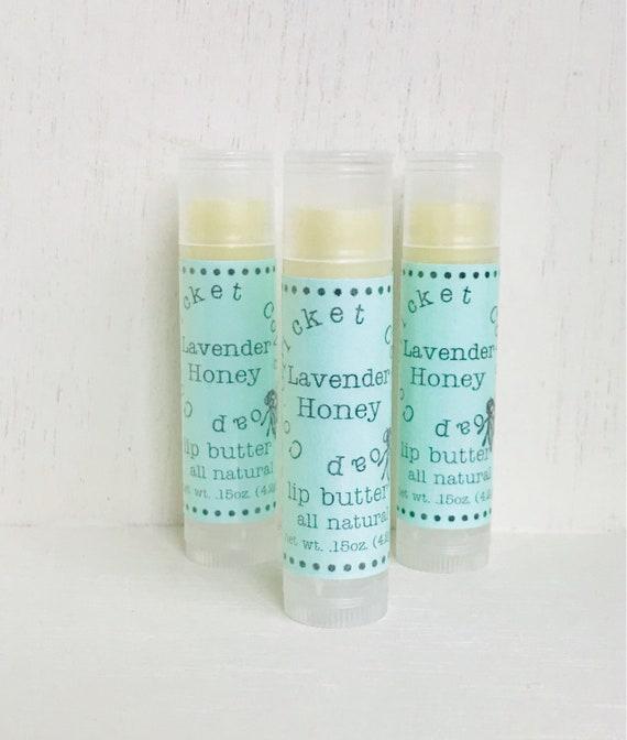LIP BUTTER - Lavender Honey All Natural Lip Butter - lip balm - lavender - chapstick