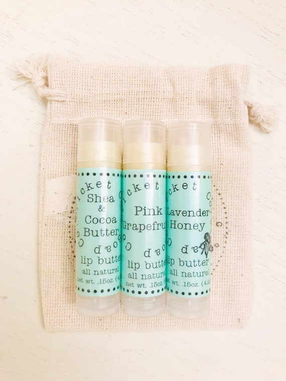 LIP BUTTER SET - Gift Set - Set Of Three All Natural Lip Butters - Lip Butter - chapstick - lip balm