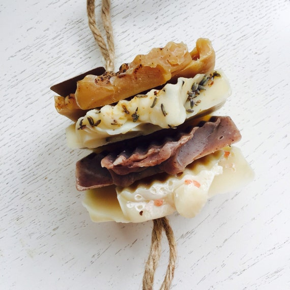 Soap on a Rope - Variety Handmade Soap Stack  - Soap Set -  Handmade Soap - natural jute - gift for him - Fathers Day