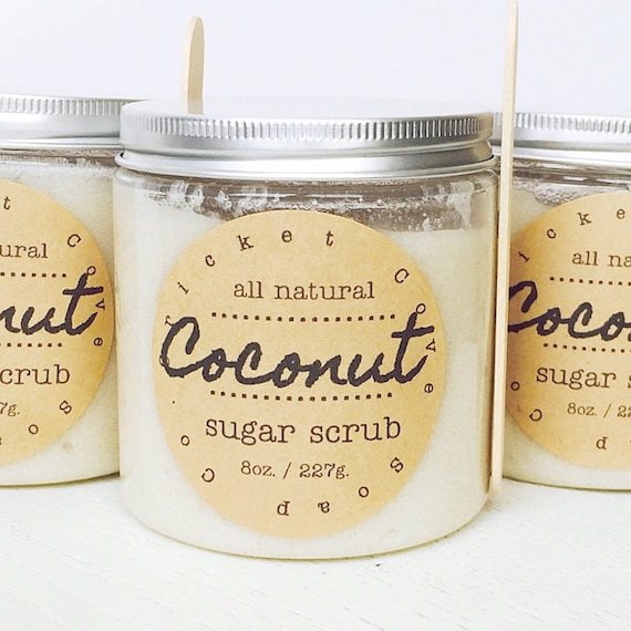Coconut Sugar Scrub - natural body scrub - exfoliating - gift idea - 8 oz. - foot scrub - lip scrub - gift for mom