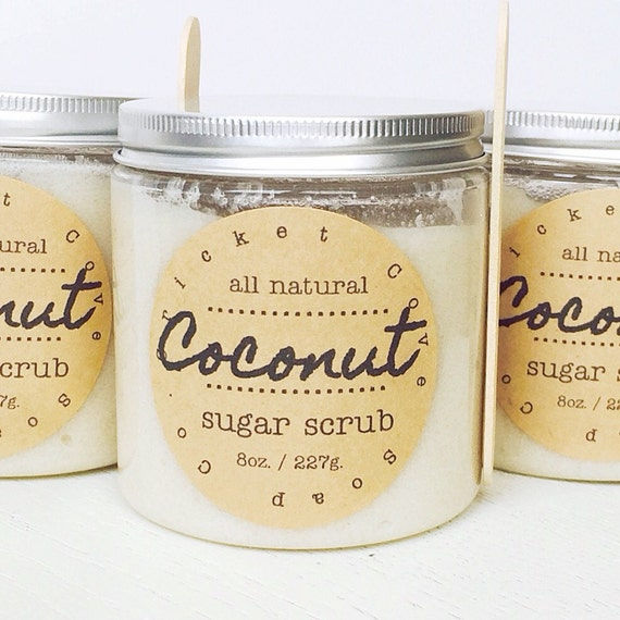 Coconut Sugar Scrub - natural body scrub - exfoliating - gift idea - 8 oz. - foot scrub - lip scrub - gift for mom