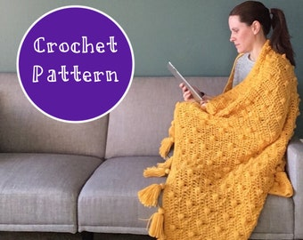 Crochet Pattern  ~ Chunky Textured Throw Blanket with Tassels ~ Home Decor ~ Gen z Yellow ~ Pop Of Color Throw Blanket