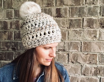 Chunky Winter Hat Beanie ~ The Ashley ~ Acrylic ~ Washable Wool Blend ~ Once size Teen - Women's