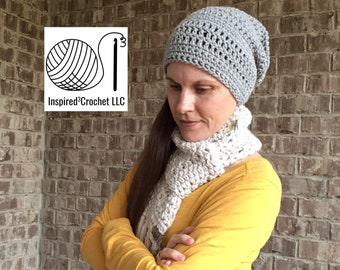 Slouchy Beanie Hat - The Kate Slouchy Hat - unisex - one size fits most Crochet hat