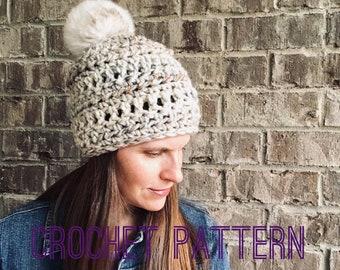 Crochet Hat Pattern - Digital Download - The Ashley Beanie Hat One size