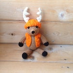 "Baby Deer Antler Amigurumi - Deer Stuffed Toy Animal - Stocking stuffer Deer Plushie - Newborn Photo Prop - Mini ""Dodge"" Whitetail Deer - Or"