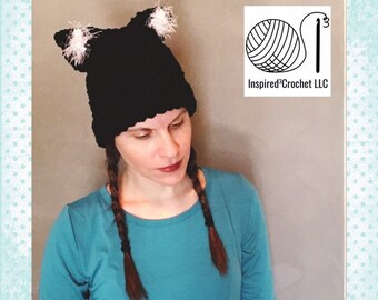 bc7b7116bc1 Black cat inspired double brim crochet hat with white fun fur ears