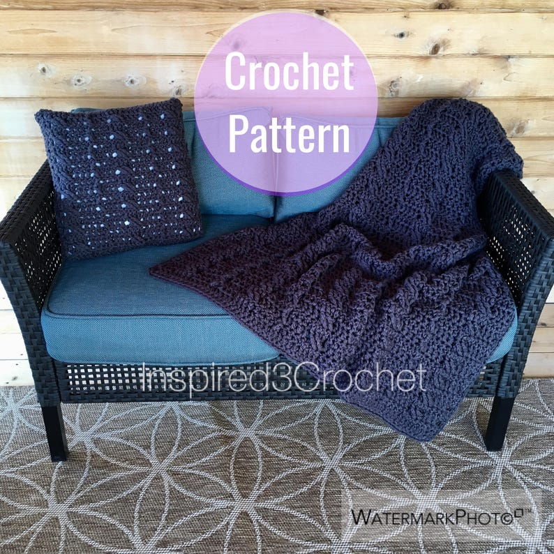 Crochet Pattern  Blanket  Chunky Cabled Crochet Throw  image 0