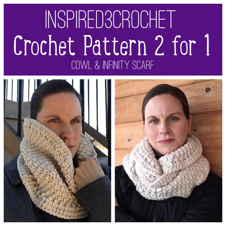 One Skein Cowl  Two Skein Infinity Scarf  Digital Download image 0