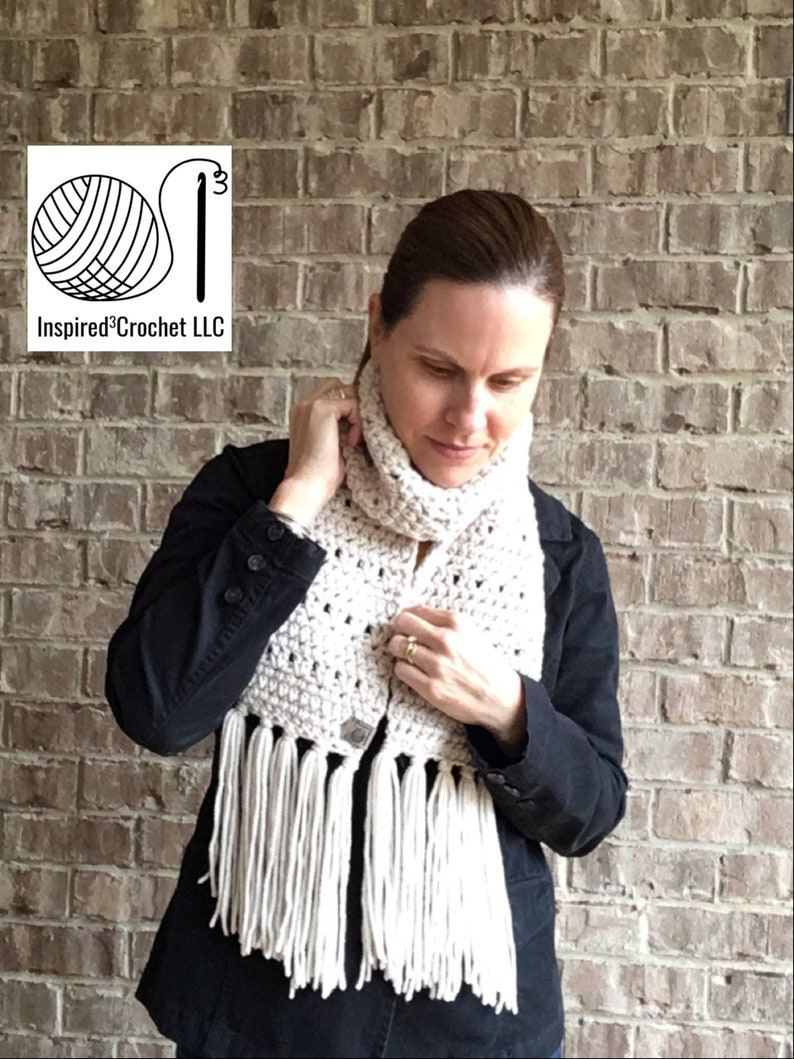 Scarf With Fringe  The Bethiel Scarf  Autumn Leaves  Clay  image 0