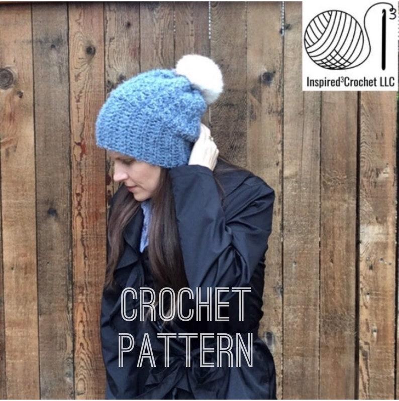 Crochet Pattern  Hat  Beanie  Rolled Brim   hygge yarn The image 0