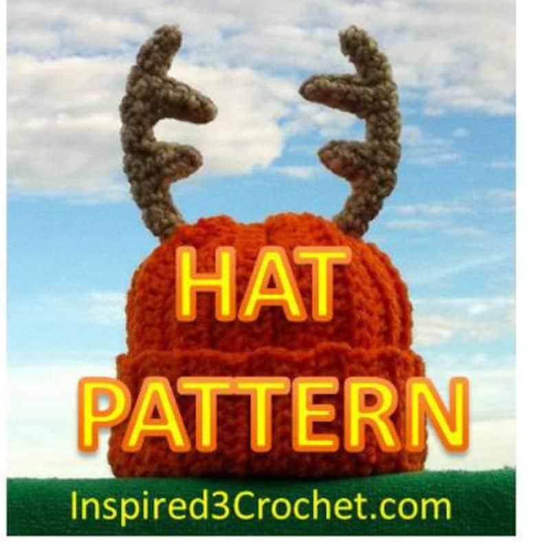 Daddy/'s Little Deer Hunter Crochet Hat with Antlers PDF Pattern  Newborn  3-6 Months Baby Baby Deer Antler Hat Crochet Pattern