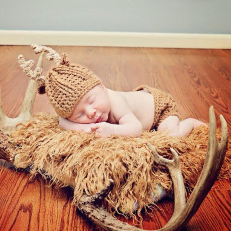 Baby Deer Antler Hat Set  Newborn Photo Prop Set  Whitetail image 0