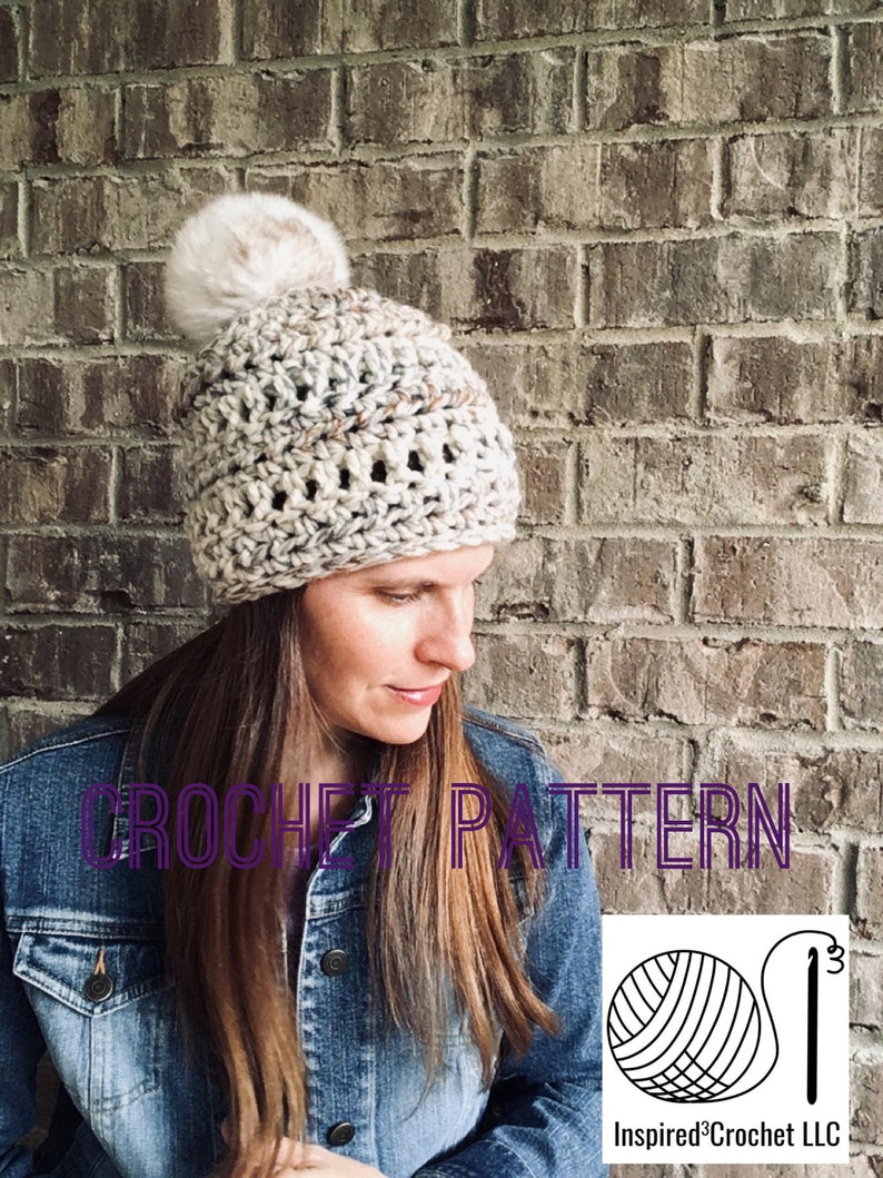 Crochet Hat Pattern  Digital Download  The Ashley Beanie Hat image 0