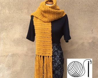 Over-sized Wool Scarf with Fringe - The Andrea Scarf  & Hat in washable wool Blend yarn- Neck Scarf - Neck Warmer 8 color options