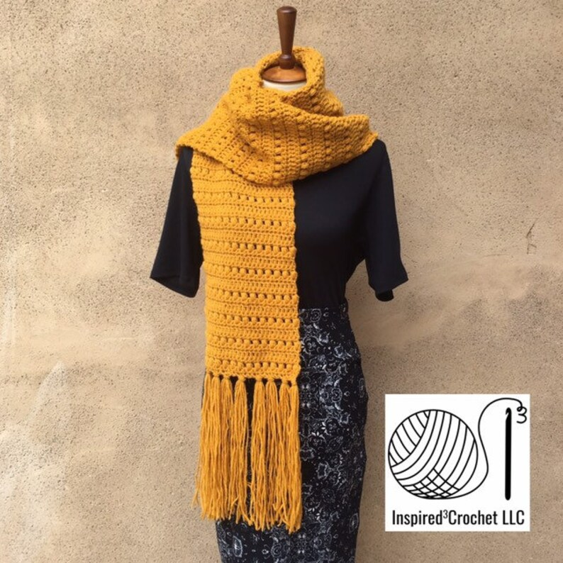 Over-sized Wool Scarf with Fringe  The Andrea Scarf  & Hat in image 0