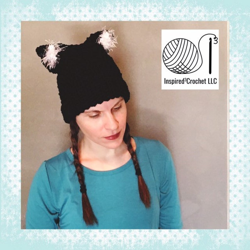 Black cat inspired Rolled brim crochet hat with white fun fur image 0