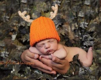 Baby Deer Hat - Crochet hat - Baby Antler Hat - Daddy's Little Deer Hunter Hat - Newborn & 3-6 Months
