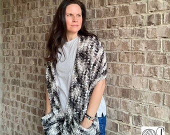 Over-sized scarf with pockets - Storm Clouds Scarf - unisex scarf