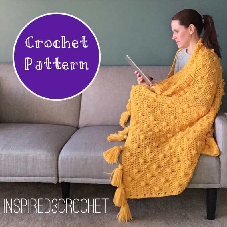 Crochet Pattern   Chunky Textured Throw Blanket with Tassels image 0