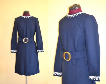 1960s Vintage Joan Curtis Navy Blue and White Belted Dress size M bust 36