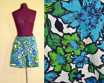1960s Vintage Blue Green Floral Shorts size M L waist 32
