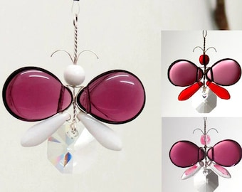 Rear View Mirror Charm Purple Butterfly Hanging Fairy Swarovski Crystal Suncatcher Car Charm Angel Decor Girls Gift Christmas Oranment Glass