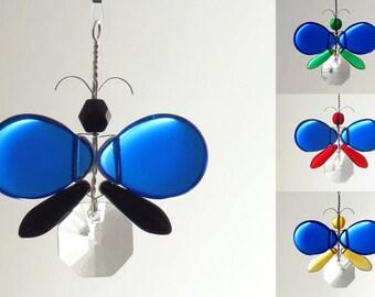 Xmas Ornament Cute Car Accessories Blue Butterfly Swarovski Crystal Suncatcher Car Rear View Mirror Charm Wedding Decor Wishing Tree Gift