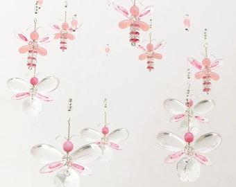 Nursery Idea Decor Baby Mobile Swarovski Crystal Suncatcher Pink Butterfly Mobile Hanging Fairy Gift Baby Girl Mobile Girls Room Decoration