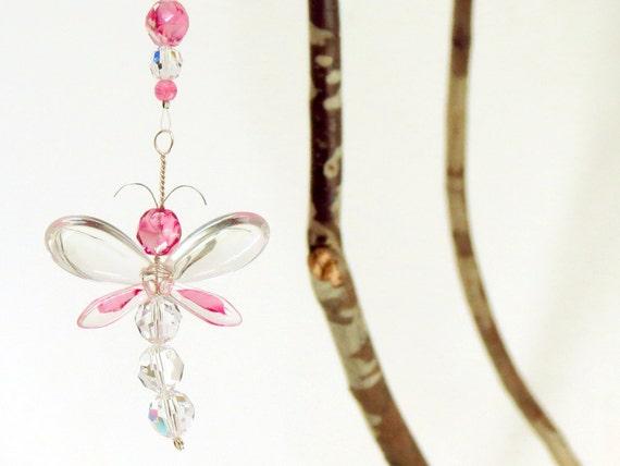 Pink Dragonfly Suncatcher