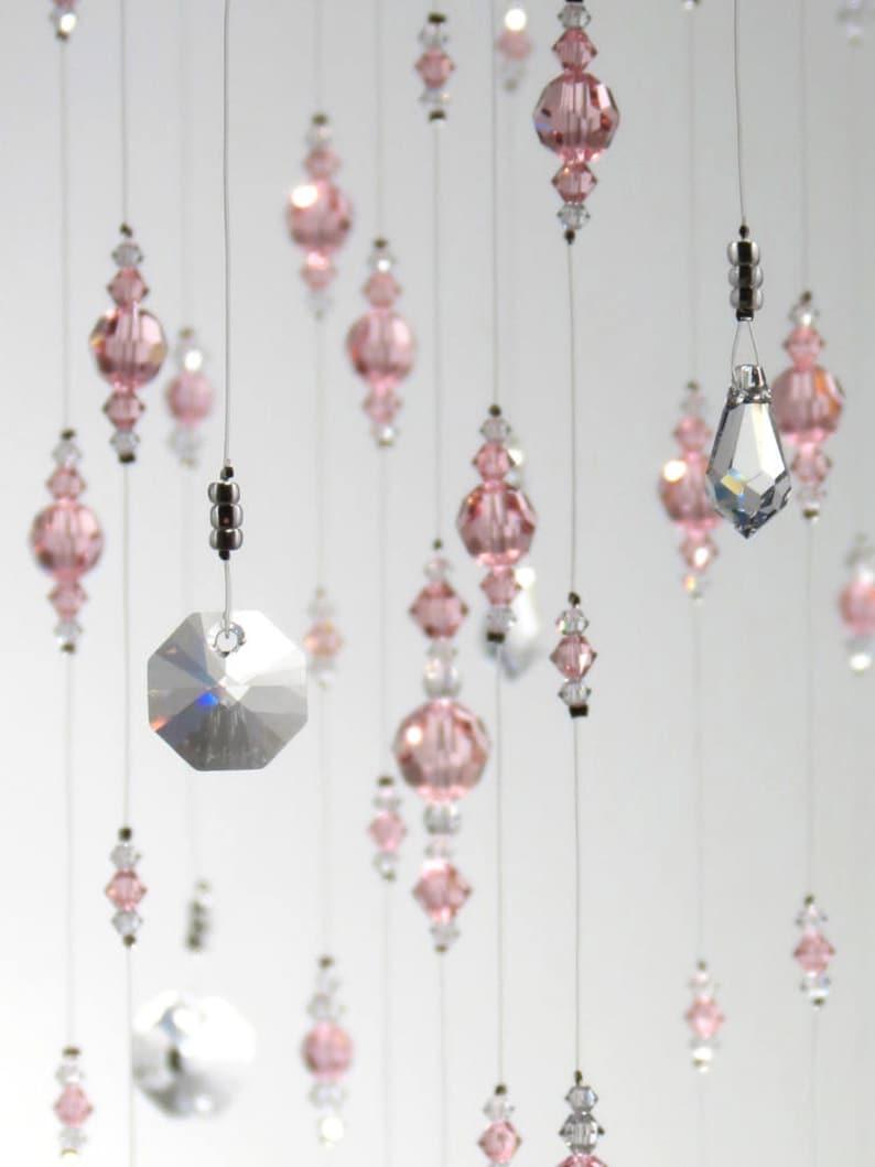 Large Light Pink Wedding Decoration Swarovski Crystal Chandelier Hanging Mobile Suncatcher Baby Girl Nursery Idea Babyshower Birthday Gift