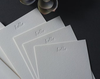 Set of four letterpress flat cards {hello} /  stationery sets / blind impression / blind deboss / note cards / notes / printed by hand