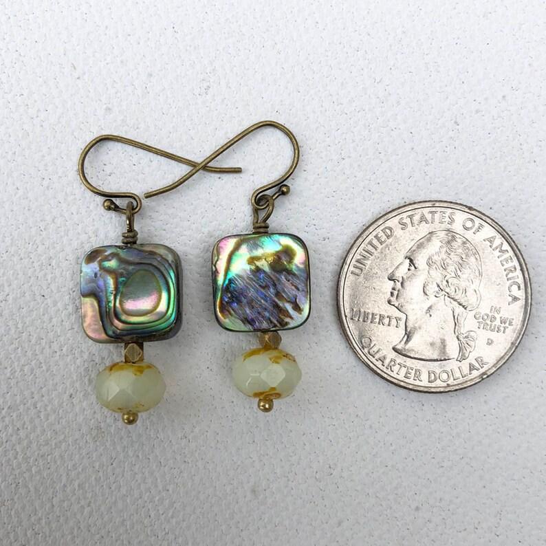 CLASSIC ABALONE EARRINGS Mothers Day Gift Birthday Present Abalone Shell Earrings Modern Boho Earrings Brass Abundance Earrings