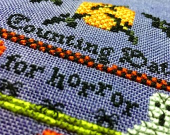 Finished Cross Stitch Halloween Decoration Sampler Counting Bats Wall Art Embroidery Stitching Complete