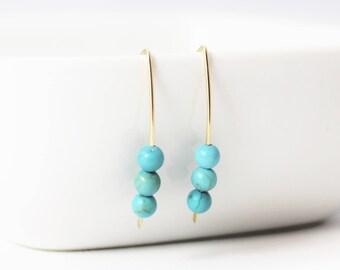 Turquoise Howlite 3 Bead 14k Gold Filled Earrings / Turquoise Earrings / Minimalist / Stacy Earrings / December Birthstone