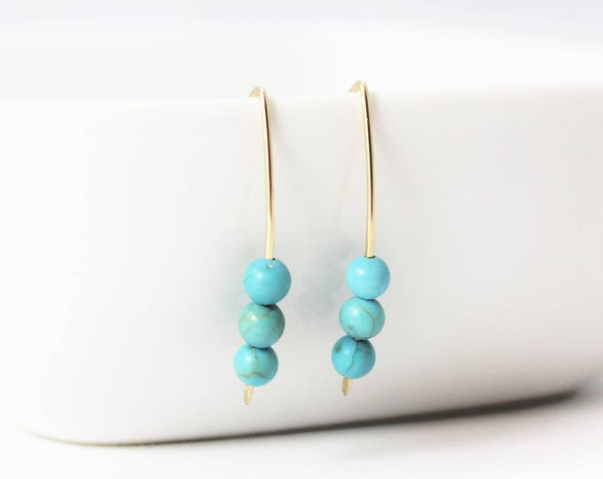 Featured listing image: Turquoise Howlite 3 Bead 14k Gold Filled Earrings / Turquoise Earrings / Minimalist / Stacy Earrings / December Birthstone