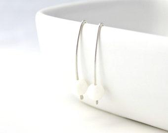 White River Shell and Sterling Silver Earrings / Modern / Minimalist / White Summer Earrings / Beach Jewelry / E209