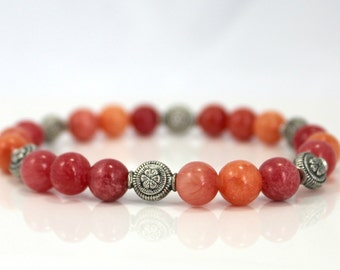 Shades of Red Quartzite Bead Stretch Bracelet with Silver Plated Accents / Gifts under 25