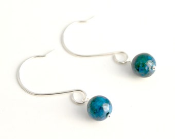 Australian Sapphire Jasper and Sterling Silver Earrings / Blue and Green Earrings / Handcrafted Natural Stone Earrings