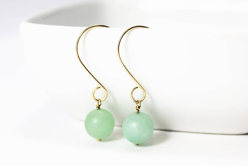 Light Green Amazonite and 14K Gold Filled Earrings / Natural image 0