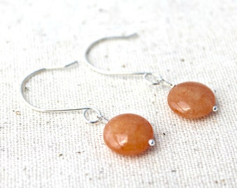 Orange Quartzite Stone and Sterling Silver Handcrafted Earrings / Handmade Jewelry / Stone Earrings