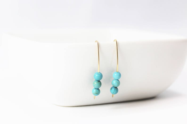 Turquoise Howlite 3 Bead 14k Gold Filled Earrings / Turquoise image 0